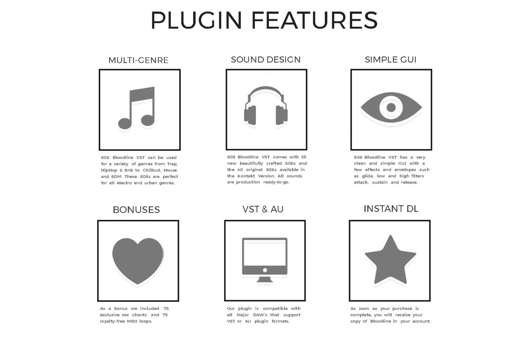 Features For 808 VST Plugin - Bloodline
