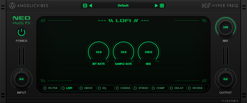 LoFi effect with bit rate and sample rate reduction effects with mix control.