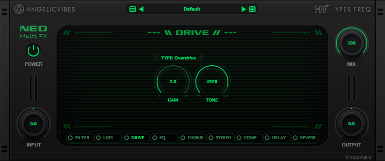Drive effect with 4 types to choose from. Overdrive, Tube, Distortion and soft clipping.