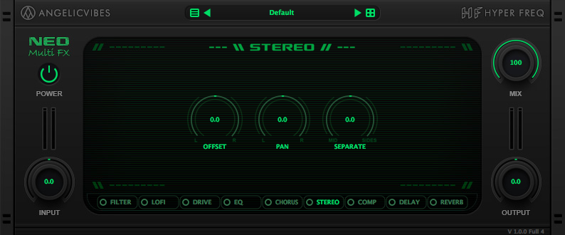 Stereo effect with stereo separation, L/R Offset and pan controls.