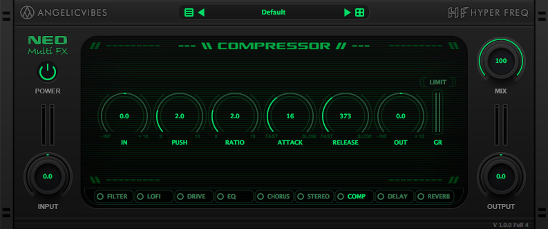 Add compression, punch and saturation. Features a push knob that can be used to control the amount of compression and a soft clipping effect.