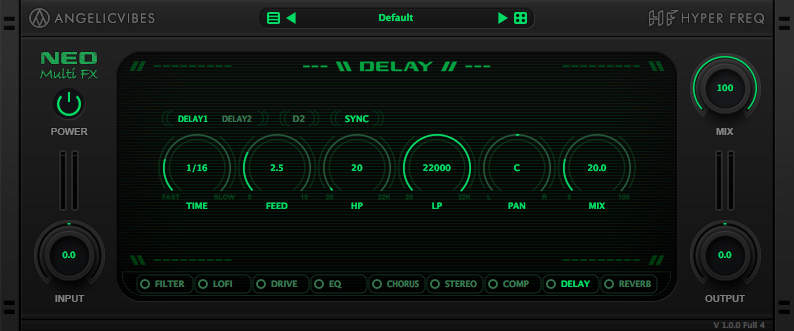 Delay with 2 parallel delay units, tempo sync option and LP and HP filters.