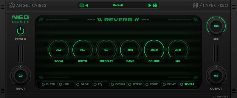 Fast and optimized reverb effect with width, damp, pre-delay and colour controls to give it more flexibility.